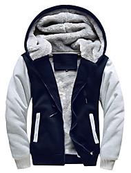 cheap -men's fleece thick pullover winter jackets hooded hoodies sweatshirt wool warm sports coats black-l