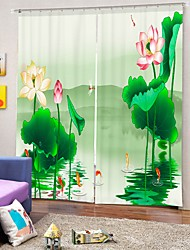 cheap -Lotus Digital Printing 3D Curtain Shading Curtain High Precision Black Silk Fabric High Quality Curtain