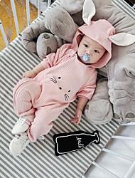 Χαμηλού Κόστους -Μωρό Κοριτσίστικα Ενεργό Rabbit Μονόχρωμο Στάμπα Μακρυμάνικο Ένα Κομμάτι Ανθισμένο Ροζ