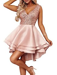 cheap -A-Line Sparkle Pink Homecoming Cocktail Party Dress V Neck Sleeveless Short / Mini Satin with Sequin Tier 2020