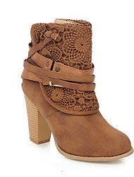 cheap -Women's Boots Chunky Heel Round Toe PU Booties / Ankle Boots Fall & Winter Black / Yellow