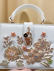 cheap -Women's Crystals / Flower PU Leather Tote Leather Bags Floral Print White / Fall & Winter