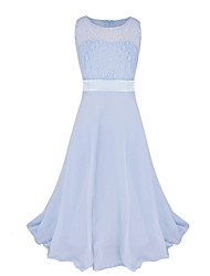 cheap -Princess / Ball Gown Maxi Party / Formal Evening / Pageant Flower Girl Dresses - Tulle / Poly&Cotton Blend Sleeveless Jewel Neck with Lace / Solid