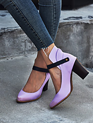 cheap -Women's Heels Chunky Heel Pointed Toe Buckle PU Vintage / Casual Spring &  Fall / Spring & Summer Purple / Gray / Khaki / Party & Evening