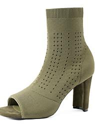 cheap -Women's Boots Sculptural Heel Open Toe Knit Mid-Calf Boots Minimalism Spring &  Fall / Spring & Summer Black / Green / Party & Evening