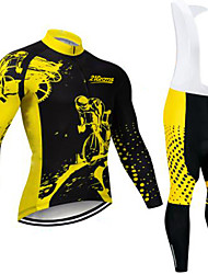 cheap -21Grams Men's Long Sleeve Cycling Jersey with Bib Tights Winter Fleece Black / Yellow Bike Clothing Suit UV Resistant Quick Dry Sports Solid Color Mountain Bike MTB Road Bike Cycling Clothing Apparel