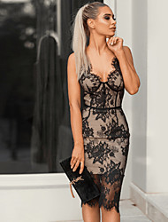 cheap -Women's Sheath Dress Short Mini Dress - Sleeveless Print Lace Print Summer V Neck Sexy Slim 2020 Black S M L XL