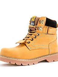 cheap -Women's Boots Block Heel Round Toe Leather Fall Yellow