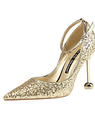 cheap -Women's Wedding Shoes Stiletto Heel Pointed Toe Sequin Synthetics Classic / Minimalism Spring & Summer Black / Champagne / Gold / Party & Evening