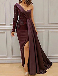 cheap -Sheath / Column One Shoulder Floor Length Lace / Satin Furcal Formal Evening Dress 2020 with Sash / Ribbon / Split Front