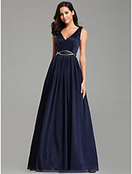 cheap -A-Line Elegant Formal Evening Dress Plunging Neck Sleeveless Floor Length Tulle with Sash / Ribbon 2020