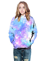 cheap -Kids Girls' Active Basic Galaxy Color Block 3D Print Long Sleeve Hoodie & Sweatshirt Purple
