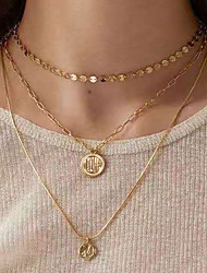 cheap -Women's Pendant Necklace Necklace Layered Alphabet Shape Classic Vintage Trendy Ethnic Aluminum Gold 47 cm Necklace Jewelry 1pc For Gift Daily Holiday Club Festival