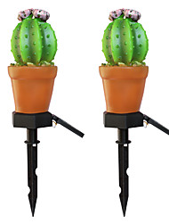 cheap -2pc 3 W Cactus / Lawn Lights Waterproof / Solar / Creative Warm White 1.2 V Outdoor Lighting / Swimming Pool / Courtyard 1 LED Beads / Night Light / Christmas / New Year's