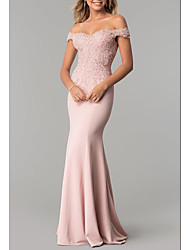 cheap -Mermaid / Trumpet Elegant Pink Prom Formal Evening Dress Off Shoulder Short Sleeve Sweep / Brush Train Stretch Satin with Appliques 2020