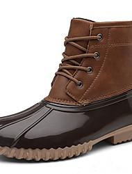 cheap -Women's Boots Rain Boots Flat Heel Round Toe PU Booties / Ankle Boots Fall & Winter Black / Light Brown / Dark Brown