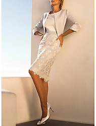 cheap -Sheath / Column Jewel Neck Knee Length Polyester 3/4 Length Sleeve Wrap Included Mother of the Bride Dress with Lace 2020