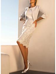 abordables -Fourreau / Colonne Bijoux Mi-long Polyester Manches 3/4 Echarpe incluse Robe de Mère de Mariée  avec Dentelle 2020