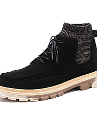 cheap -Men's Suede Shoes Suede Fall & Winter Boots Booties / Ankle Boots Black / Brown / Almond