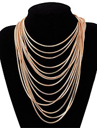 cheap -Women's Choker Necklace Layered Necklace Tassel Fringe Precious Unique Design Fashion Gold Plated Chrome Gold 64 cm Necklace Jewelry 1pc For Street Holiday Festival / Long Necklace