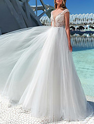 cheap -A-Line Bateau Neck Court Train Tulle Made-To-Measure Wedding Dresses with Beading / Appliques by LAN TING Express