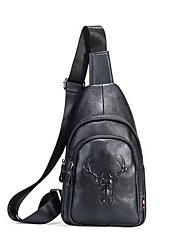 cheap -Men's Embossed Cowhide Sling Shoulder Bag Animal Black