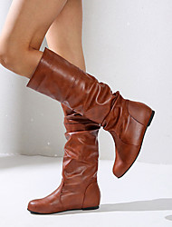 cheap -Women's Boots Hidden Heel Round Toe Faux Leather Knee High Boots Fall & Winter Black / Brown / Almond / Party & Evening