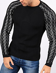 cheap -Men's Striped Long Sleeve Pullover Sweater Jumper, Round Neck Black S / M / L