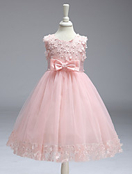 cheap -Ball Gown Knee Length Party / Wedding Flower Girl Dresses - Tulle Sleeveless Jewel Neck with Bow(s)