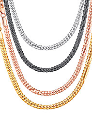 cheap -Men's Women's Choker Necklace Chain Necklace Necklace Vertical / Gold bar Trendy Rock Fashion Copper Black Rose Gold Gold Silver 36+5/46/51/55/61/66/71/76 cm Necklace Jewelry 1pc For Gift Daily