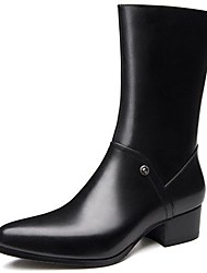 cheap -Men's Fashion Boots Nappa Leather Winter / Fall & Winter Classic / British Boots Warm Knee High Boots Black / Party & Evening