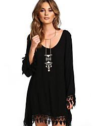 cheap -Women's Plus Size Black Dress Street chic Daily Wear Shift Solid Colored V Neck S M