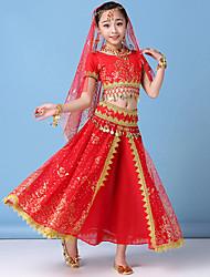 cheap -Princess Jasmine Dress Masquerade Flower Girl Dress Girls' Movie Cosplay A-Line Slip Cosplay Sweet Green / Red / Blue Top Skirt Headpiece Halloween Carnival Masquerade Tulle Chiffon Vinylon