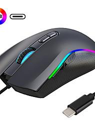cheap -HXSJ A869RGB-TYPE-C Wired USB Optical Gaming Mouse / Office Mouse RGB Light 7200 dpi 4 Adjustable DPI Levels 7 pcs Keys 7 Programmable Keys