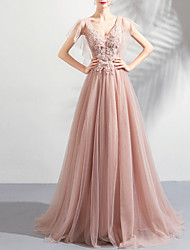 cheap -Sheath / Column Open Back Prom Formal Evening Dress Plunging Neck Short Sleeve Floor Length Tulle with Beading Appliques 2020