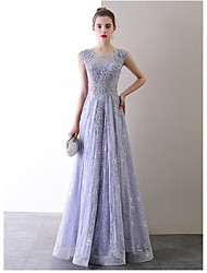 cheap -A-Line Jewel Neck Floor Length Lace Sexy / Celebrity Style Prom / Formal Evening Dress with Lace Insert 2020
