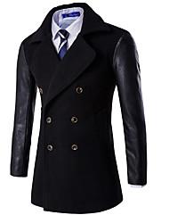 cheap -Men's Daily Fall & Winter Regular Coat, Color Block Shirt Collar Long Sleeve Cotton Black / Wine / Navy Blue