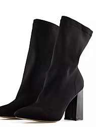 cheap -Women's Boots Chunky Heel Pointed Toe Suede Mid-Calf Boots Fall & Winter Black / Army Green