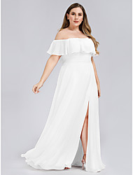 cheap -A-Line Plus Size White Holiday Beach Dress Off Shoulder Short Sleeve Floor Length Chiffon with Ruffles Split 2020