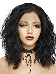 cheap -Synthetic Lace Front Wig Cosplay Wig Curly Wavy Rihanna Style Free Part Lace Front Wig Natural Black Synthetic Hair 16inch Women's Cosplay Soft Synthetic Black Wig Short / Natural Hairline