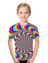 cheap -Kids Toddler Girls' Active Basic Geometric Print Color Block Print Short Sleeve Tee Rainbow