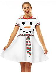 Недорогие -Мама и я Геометрический принт Рождество Платье Белый