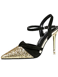 cheap -Women's Wedding Shoes Stiletto Heel Pointed Toe Synthetics Minimalism Spring & Summer Black / Champagne / Gold / Party & Evening / Color Block
