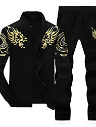 cheap -Men's 2-Piece Embroidered Tracksuit Sweatsuit Casual Long Sleeve Front Zipper Thermal / Warm Windproof Soft Running Walking Jogging Sportswear Dragon Plus Size Sweatshirt and Pants Athleisure Wear