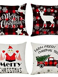 cheap -4 pcs Linen Pillow Cover, Holiday Modern Christmas Throw Pillow