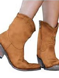cheap -Women's Boots Cowboy / Western Boots Low Heel Peep Toe PU Booties / Ankle Boots Fall & Winter Brown / Purple / Green