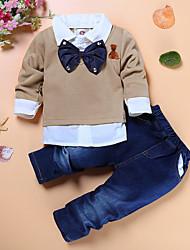 cheap -Kids Toddler Boys' Active Basic School Festival Solid Colored Long Sleeve Regular Regular Clothing Set Khaki