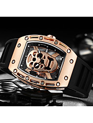 cheap -Men's Sport Watch Skeleton Watch Wrist Watch Quartz Silicone Black Creative Noctilucent Cool Analog Luxury Vintage Casual Skull Fashion - Black Black / Gold Rose Two Years Battery Life
