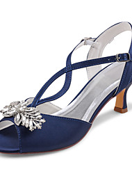 cheap -Women's Wedding Shoes Stiletto Heel Peep Toe Rhinestone / Bowknot Satin Summer Dark Blue / Party & Evening