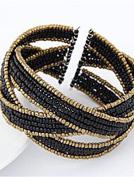 cheap -Women's Cuff Bracelet Wrap Bracelet Wide Bangle Braided Precious Vintage Punk Alloy Bracelet Jewelry Black For Street Holiday